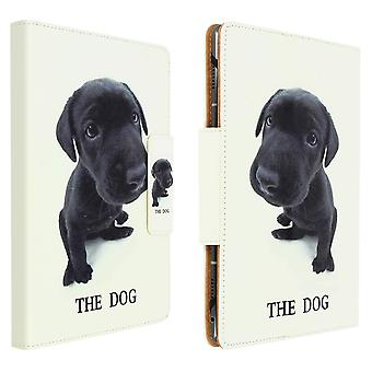 """Folio Cover with Card Slots & Stand for 10 / 11"""" Tablet- Puppy Design- White"""