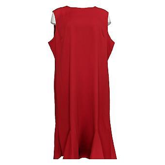 Serengeti Plus Dress Textured Knit Sleeveless Scoop Neck Red