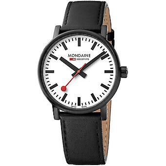 Mondaine negro cuero negro correa reloj MSE.40111.LB 40mm