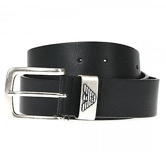Emporio Armani Silver Buckle Belt Black Y4S201 YDD6G