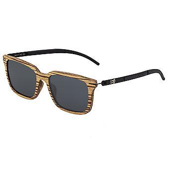 Earth Wood Doumia Polarized Sunglasses - Zebrawood/Black