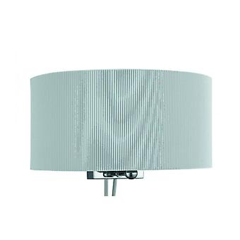 Wall Lamp Drum Plooi, In Chrome and Glass, Gray Lampshade