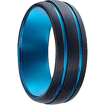 Jourdan VESTA OR007H-blå og svart menns bicolor stål ring