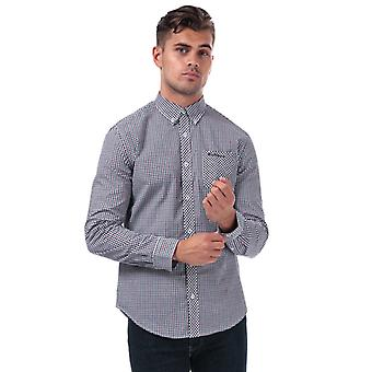 Heren's Ben Sherman Long Sleeve House Check Shirt in Rood