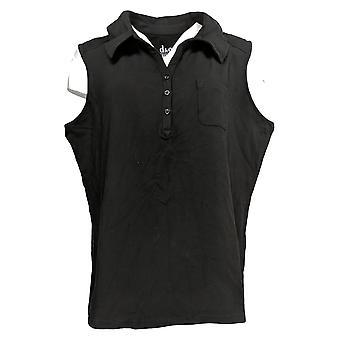 Denim & Co. Women's Plus Top Essentials Sleeveless Polo Top Black A305045