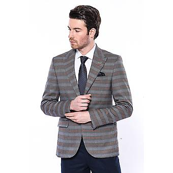 Brown slim-fit checked blazer