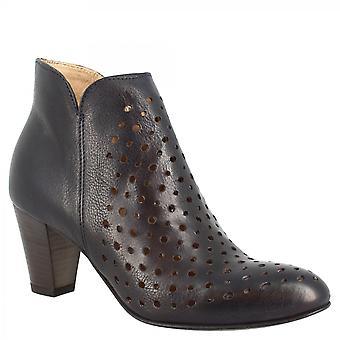 Leonardo Shoes Women's handgemaakte puntige teen midden hakken enkellaars in blauw opengewerkt leer