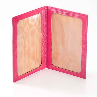 Fuchsia Oak Grain Leather Travel Photo Frame