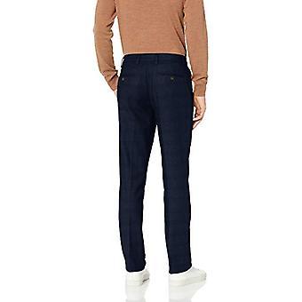 Brand - Goodthreads Men's Straight-Fit Wrinkle-Free Comfort Stretch Dress Chino Pant, Navy Glen Plaid, 42W x 30L