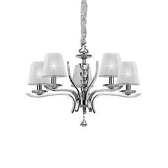 Idealny Lux Pegaso - 5 Light Crystal Multi Arm Żyrandol Chrom, Białe wykończenie, E14