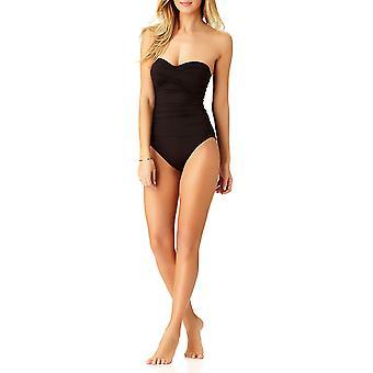 Anne Cole Women's Twist Front Shirred One Piece Swimsuit,, Black, Size 12.0