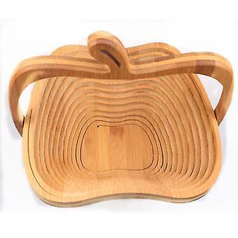 Hthl- Novelty Foldable Apple Shaped Bamboo Fruit Basket (khaki)