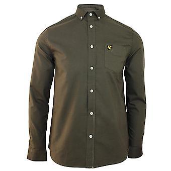 Lyle & scott men's trek camicia verde oxford