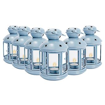 Nicola Spring Candle Lanterns Tealight Holders Metal Hanging Indoor Outdoor - 20cm - Blue - Set of 6