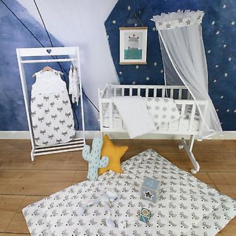 Puckdaddy crawling cobertor Foxi 140x100cm com padrão raposa em branco