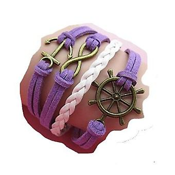 (B13) Vintage Handmade Infinity 8 Anchor Wheel Leather Bracelet Wristband including gift box by Boolavard® TM