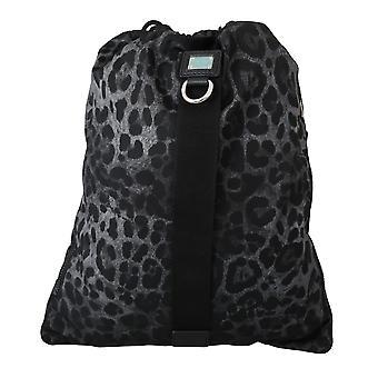 Musta leopardi säädettävä kiristysnyöri nap säkki nylon laukku
