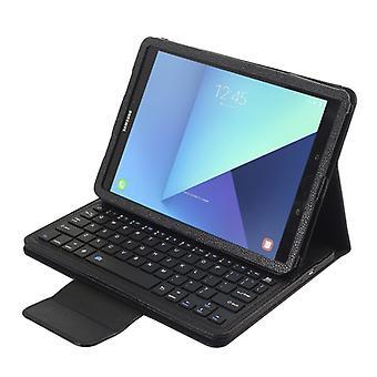 ل Galaxy Tab S3 9.7 / T820 2 في 1 لوحة مفاتيح بلوتوث قابل للفصل الجلود الليتشي لوحة المفاتيح مع حامل(أسود)