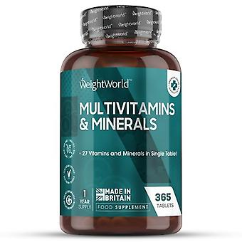 Multivitamins and Minerals - 365 Tablets - 27 Vitamins and Minerals in Single Tablet - Natural Supplement
