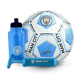 Manchester City FC Football Soccer Signature Ball Bottle Pump Gift Set 500ml