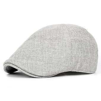 Summer Flat Caps Men Gray Linen Berets Male Vintage Elastic Driver Hat British