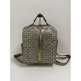 Metallic Backpack in Rose Gold with Crystal on