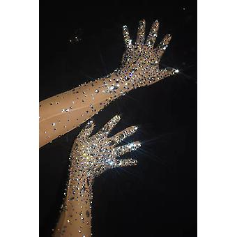 Fashion Stretch Strass Guanti Sparkling Crystal Mesh Perspective Guanti
