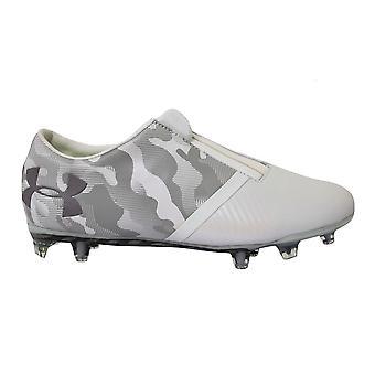 Под броней UA Spotlight Белая кожа FG Мужские футбольные сапоги 1289531 100