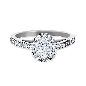 خاتم الزفاف سوليتير الماس البيضاوي قطع 1 قيراط على الذهب 18K