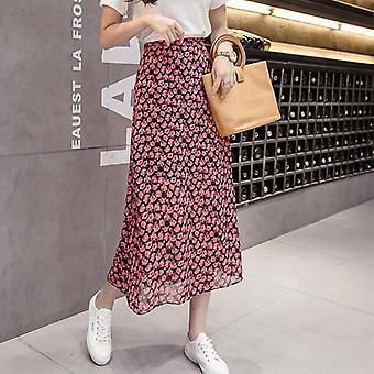 Spring Summer High Women Midi Skirts Casual Floral Print Female Skirt Maxi