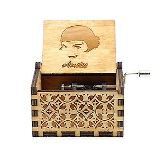 Antique Carved Hand Crank Wooden You Are My Sunshine Music Box