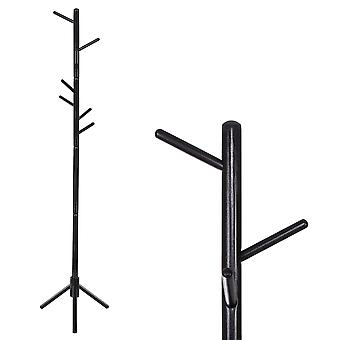 Cabide de roupas de rack - preto - 48x175 cm - 8 ganchos