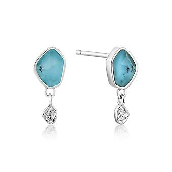 Ania Haie Silver Rhodium Plated Turquoise Drop Stud Earrings E014-01H