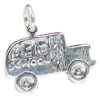 Autobus szkolny 2d Sterling Silver Charm .925 X 1 Autobusy Busses Charms - 3420