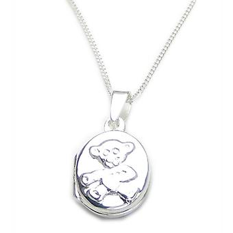 Teddybeer medaillon op 16 inch sterling zilveren ketting ketting .925 x 1 - 6556