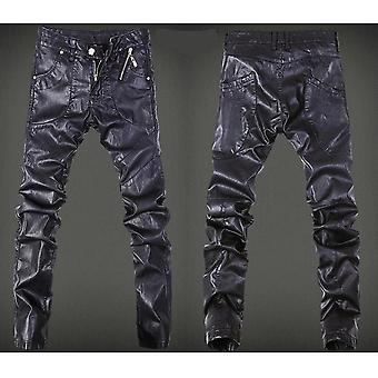 Skinny Skull Spliced Leather Pant