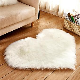 Love Heart Rugs Artificial Wool Hairy Carpet Faux Floor Mat
