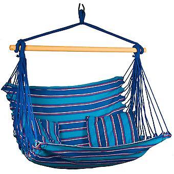 Hangstoel blauw 100x100 cm - hangmat fauteuil - inclusief 2 kussens