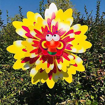 New Wind Spinner Three Layers Sunflower Outdoor Garden Decoration Windmill