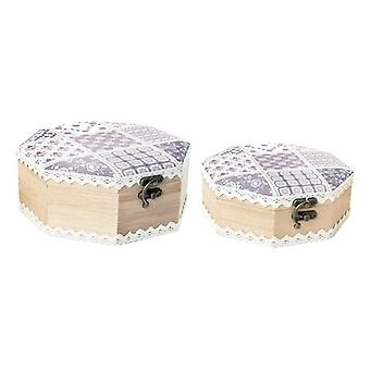 Smykker boks DKD Hjem Dekor Polyester Tre Oriental (2 stk) (16 x 6,5 x 16 cm) (20 x 20 x 8 cm)