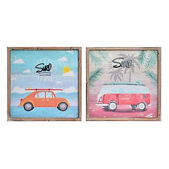 Wall Decoration Dekodonia Wood Mediterranean Surf (2 pcs)