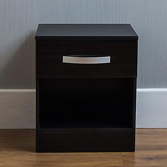 Hulio 1 Drawer Bedside Chest Cabinet High Gloss, Black