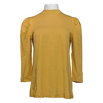 LOGO بواسطة لوري غولدشتاين المرأة & apos ق أعلى وهمية الرقبة نفخة الأكمام متماسكة الذهب A386535