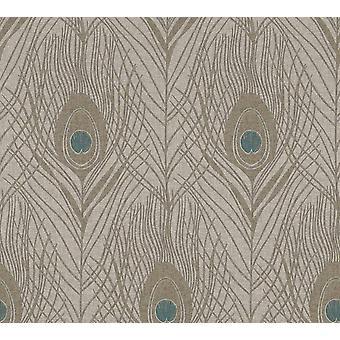 Beige Peacock Feather Wallpaper