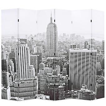 vidaXLルームディバイダー折りたたみ可能な228 x 170 cmニューヨーク日黒と白