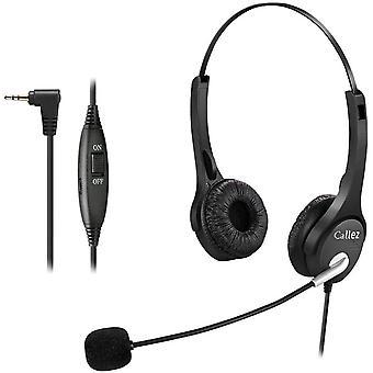 FengChun 2,5mm Telefon Headset Dual mit Noise Cancelling Mikrofon, Festnetz Kopfhrer fr Siemens