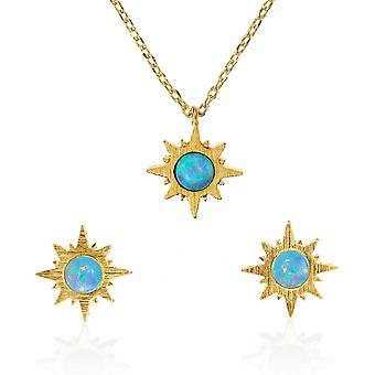 FengChun Sonnenschein Opal Set Anhnger Halskette Ohrstecker fr Damen, gebrstetes Finish 14 Karat