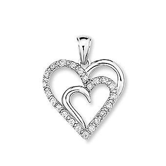 Amor - Hjärtformat hänge, rodiumformat