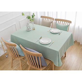 240cm الصلبة الكتان مفرش المائدة زخرفة المطبخ المنزلي مفرش المائدة (الأخضر الفاتح)