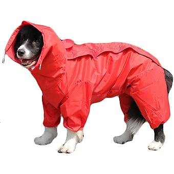 Red Dog Raincoat With Detachable Hoodie, Drawstring Coat, 10 Sizes